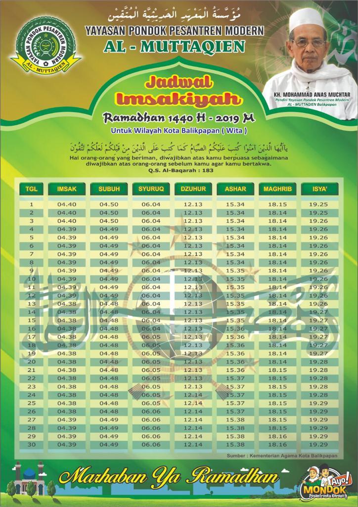 Jadwal Imsakiyah 1440 H Pondok Pesantren Al-Muttaqien ...